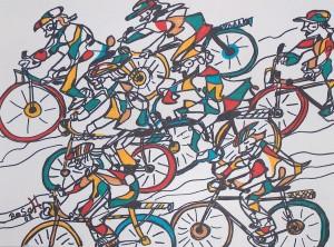 Die Radfahrer, Eddingstift auf Zeichenpapier, 36 cm x 48 cm, 80,00 Euro