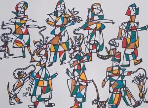 Die Hundebesitzer, Eddingstift auf Zeichenpapier, 36 cm x 48 cm, 80,00 Euro