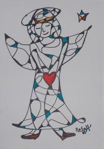 Engel mit Herz, Eddingstift auf Zeichenpapier, 30 cm x 40 cm, 60,00 Euro