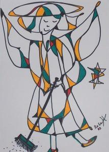 Fegender Engel, Eddingstift auf Zeichenpapier, 30 cm x 40 cm, 60,00 Euro