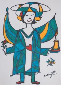 Engel mit Kerze und Rose, Eddingstift auf Zeichenpapier, 30 cm x 40 cm , 60,00 Euro