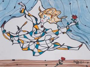 Die Tänzerin, Eddingstift auf Zeichenpapier, 30 cm x 40 cm, 60,00 Euro