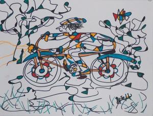 Der Radler auf dem blauen Rad, Eddingstift auf Zeichenpapier, 30 cm x 40 cm, 60,00 Euro
