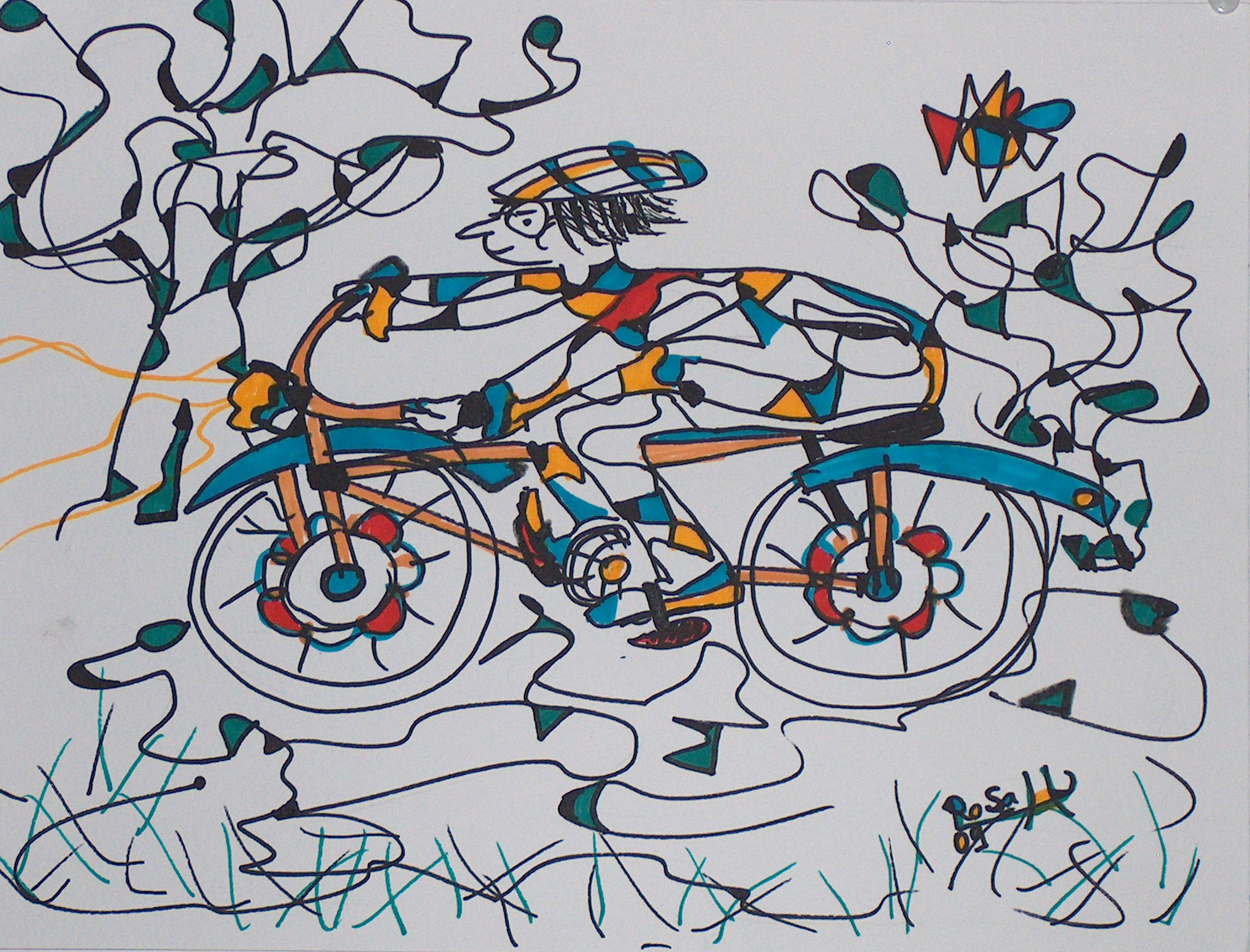 Der Radler auf dem blauen Rad