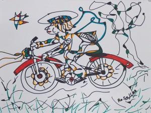 Engel auf dem roten Rad, Eddingstift auf Zeichenpapier, 30 cm x 40 cm, 60,00 Euro