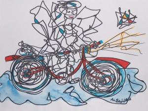 Engel mit Rad auf der blauen Wolke, Eddingstift und Aquarellfarbe auf Zeichenpapier, 30 cm x 40 cm, 60,00 Euro