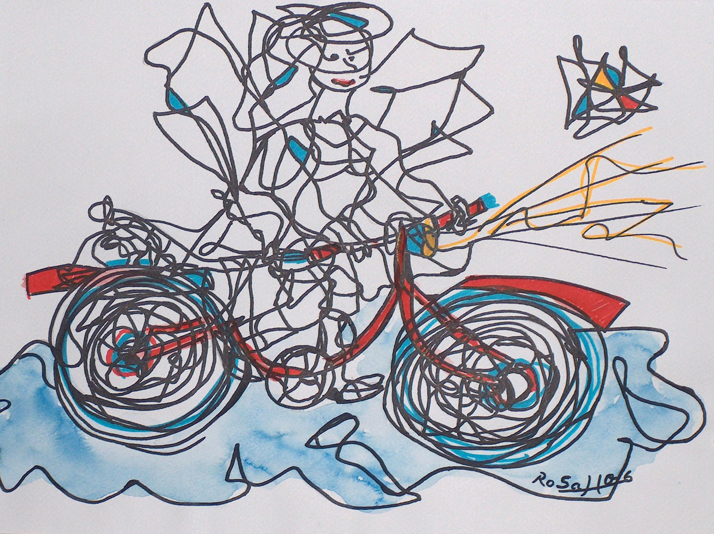 Engel mit Rad auf der blauen Wolke
