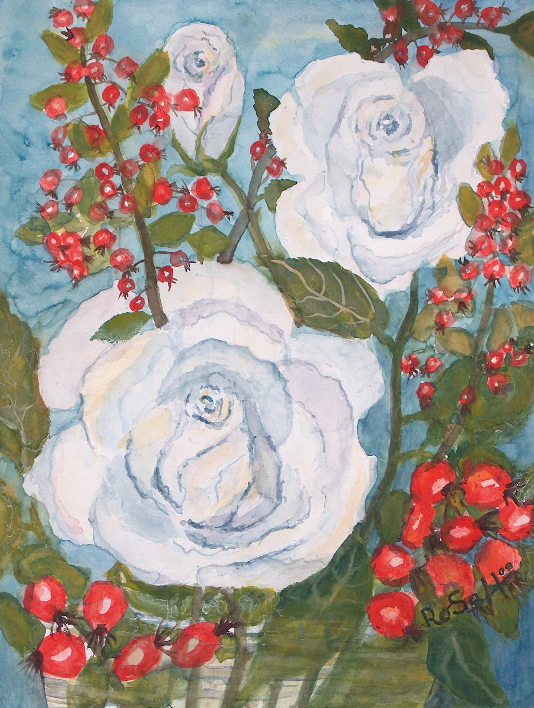 Weiße Rose mit Hagebutten ( groß )