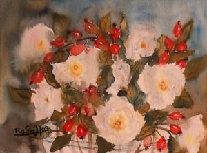 Weiße Rosen und Hagebutten 3, Aquarell auf Bütten, 39 cm x 30 cm, 150 Euro