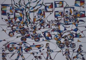 Auf der Straße, Eddingstift auf Leinwand, 49 x 110 cm, 120 Euro