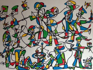 Das Fest 2, Eddingstiftzeichnung auf Leinwand, 50 x 70 cm, 220 Euro