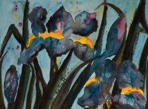 Mondlicht-Iris, Aquarell auf Aquarellpapier, 30 x 40 cm, 150 Euro