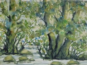 Schwentinebaumbild 2, Aquarell auf Aquarellpapier, 30 x 40 cm