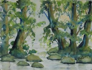 Schwentinebäume 1, Aquarell auf Aquarellpapier, 30 x 40 cm