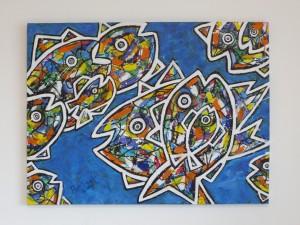 Sushi,  Acryl auf Leinwand, 80 x 60 cm