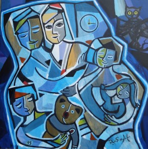 """ Dream-Team ? "" Acryl auf Leinwand, 100 x 100 cm,"